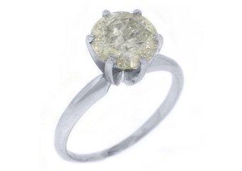 3.37 CARAT WOMENS SOLITAIRE BRILLIANT ROUND DIAMOND ENGAGEMENT RING WHITE GOLD