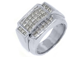 MENS 2.71 CARAT PRINCESS SQUARE CUT DIAMOND RING WEDDING BAND 14KT WHITE GOLD