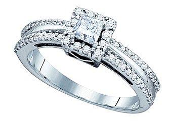 .52 CARAT WOMENS DIAMOND ENGAGEMENT HALO RING PRINCESS CUT SQUARE WHITE GOLD