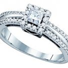 .52 CARAT WOMENS DIAMOND ENGAGEMENT HALO RING PRINCESS CUT SQUARE WHITE GOLD