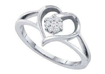 DIAMOND PROMISE ENGAGEMENT RING WHITE GOLD HEART SHAPE .09 CARATS
