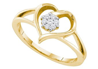 DIAMOND PROMISE ENGAGEMENT RING YELLOW GOLD HEART SHAPE .09 CARATS