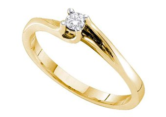 DIAMOND PROMISE ENGAGEMENT RING YELLOW GOLD ROUND SHAPE .09 CARATS
