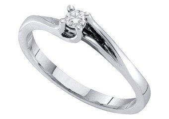 DIAMOND PROMISE ENGAGEMENT RING WHITE GOLD ROUND SHAPE .09 CARATS
