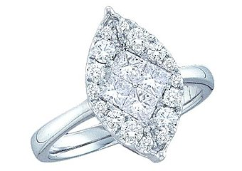 1 CARAT MARQUISE CUT SHAPE DIAMOND PROMISE ENGAGEMENT RING WHITE GOLD