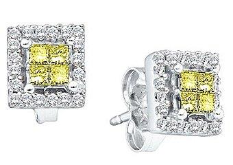 1/3CT CANARY YELLOW PRINCESS CUT SQUARE DIAMOND HALO STUD EARRINGS WHITE GOLD