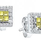 1/3CT CANARY YELLOW PRINCESS CUT SQUARE DIAMOND HALO STUD EARRINGS WHITE GOLD