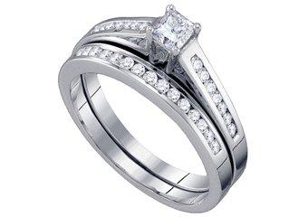 WOMENS DIAMOND ENGAGEMENT RING WEDDING BAND BRIDAL SET 1/2 CARAT PRINCESS CUT