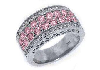 WOMENS PINK SAPPHIRE DIAMOND RING WEDDING BAND 2.76 CARAT ROUND CUT WHITE GOLD