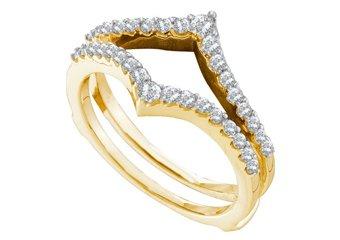 .47 CARAT WOMENS BRILLIANT ROUND CUT DIAMOND RING GUARD WEDDING BAND YELLOW GOLD
