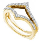 .47 CARAT WOMENS BRILLIANT ROUND CUT DIAMOND RING GUARD WEDDING BAND YELLOW GOLD
