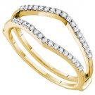 .25 CARAT WOMENS BRILLIANT ROUND CUT DIAMOND RING GUARD WEDDING BAND YELLOW GOLD