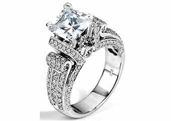 WOMENS DIAMOND ENGAGEMENT RING PRINCESS CUT 2.20 CARAT 14K WHITE GOLD