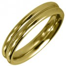 MENS WEDDING BAND ENGAGEMENT RING YELLOW GOLD HIGH GLOSS MILGRAIN 4mm