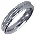 MENS WEDDING BAND ENGAGEMENT RING WHITE GOLD HIGH GLOSS MILGRAIN 4mm