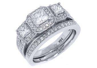 2CT WOMENS DIAMOND ENGAGEMENT RING WEDDING BAND BRIDAL SET PRINCESS WHITE GOLD