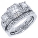 2CT WOMENS DIAMOND ENGAGEMENT RING WEDDING BAND BRIDAL SET PRINCESS WHITE GOLD