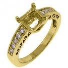 .29 CARAT WOMENS DIAMOND ENGAGEMENT RING SEMI-MOUNT PRINCESS CUT YELLOW GOLD
