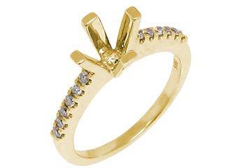.25 CARAT WOMENS DIAMOND ENGAGEMENT RING SEMI-MOUNT ROUND SHAPE  YELLOW GOLD