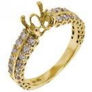 1.10 CARAT WOMENS DIAMOND ENGAGEMENT RING SEMI-MOUNT ROUND SHAPE  YELLOW GOLD