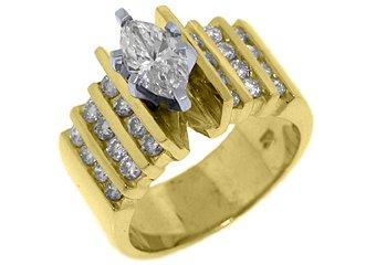 1.83 CARAT WOMENS DIAMOND ENGAGEMENT WEDDING RING MARQUISE ROUND CUT YELLOW GOLD