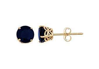 1.4 CARAT SAPPHIRE STUD EARRINGS 5mm ROUND 14K YELLOW GOLD SEPTEMBER BIRTH STONE