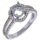 .52 CARAT WOMENS DIAMOND HALO ENGAGEMENT RING SEMI-MOUNT ROUND SHAPE WHITE GOLD