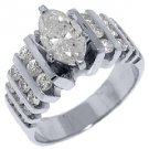 3 CARAT WOMENS DIAMOND ENGAGEMENT WEDDING RING MARQUISE ROUND CUT WHITE GOLD