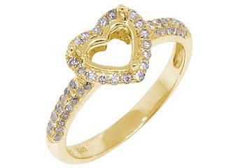 .47 CARAT WOMENS DIAMOND HALO ENGAGEMENT RING SEMI-MOUNT HEART SHAPE YELLOW GOLD