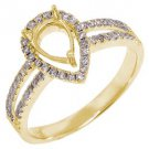 .40 CARAT WOMENS DIAMOND HALO ENGAGEMENT RING SEMI-MOUNT PEAR SHAPE YELLOW GOLD