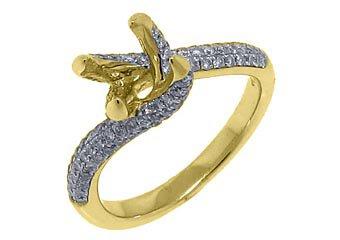 .91 CARAT WOMENS DIAMOND ENGAGEMENT RING SEMI-MOUNT ROUND CUT YELLOW GOLD