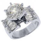 5.4 CARAT WOMENS DIAMOND ENGAGEMENT RING ROUND MARQUISE BAGUETTE CUT WHITE GOLD