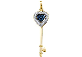 Blue Diamond Key Pendant Brilliant Round Cut Micro Pave Yellow Gold Heart Shape