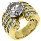 7 CARAT WOMENS DIAMOND ENGAGEMENT WEDDING RING ROUND BAGUETTE CUT YELLOW GOLD