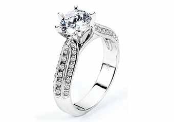WOMENS DIAMOND ENGAGEMENT RING ROUND CUT 1.51 CARAT 14K WHITE GOLD