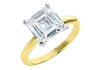 3 CARAT WOMENS SOLITAIRE ASSCHER SHAPE CUT DIAMOND ENGAGEMENT RING YELLOW GOLD