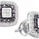.51 CARAT PRINCESS CUT INVISIBLE BLACK DIAMOND HALO STUD EARRINGS WHITE GOLD
