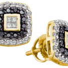 .51 CARAT PRINCESS CUT INVISIBLE BLACK DIAMOND HALO STUD EARRINGS YELLOW GOLD