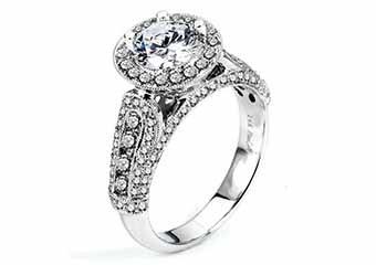 WOMENS DIAMOND ENGAGEMENT HALO RING ROUND CUT 2.11 CARAT 14K WHITE GOLD