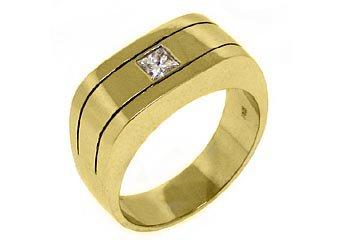 MENS 2/5 CARAT PRINCESS SQUARE CUT DIAMOND RING WEDDING BAND 14KT YELLOW GOLD