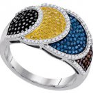 WOMENS BROWN CHAMPAGNE BLUE BLACK YELLOW DIAMOND WEDDING BAND RING