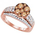 BROWN CHAMPAGNE DIAMOND ENGAGEMENT RING WEDDING BAND BRIDAL SET ROSE PINK GOLD