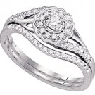 WOMENS DIAMOND ENGAGEMENT PROMISE HALO RING WEDDING BAND BRIDAL SET ROUND CUT