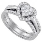 WOMENS DIAMOND ENGAGEMENT HALO RING WEDDING BAND BRIDAL TRIO SET HEART SHAPE