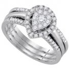 WOMENS DIAMOND ENGAGEMENT HALO RING WEDDING BAND BRIDAL TRIO SET PEAR SHAPE