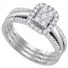 WOMENS DIAMOND ENGAGEMENT HALO RING WEDDING BAND BRIDAL TRIO SET EMERALD SHAPE