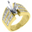 3.20 CARAT WOMENS DIAMOND ENGAGEMENT RING SEMI-MOUNT PRINCESS CUT YELLOW GOLD