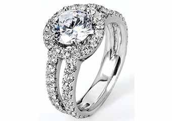 WOMENS DIAMOND ENGAGEMENT HALO RING ROUND CUT 2.45 CARAT 14K WHITE GOLD
