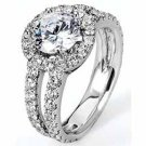 WOMENS DIAMOND ENGAGEMENT HALO RING ROUND CUT 2.45 CARAT 14K WHITE GOLD