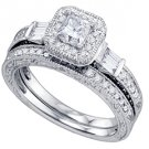 WOMENS DIAMOND ENGAGEMENT HALO RING WEDDING BAND BRIDAL SET PRINCESS CUT 1.19 CT